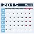 Calendar 2015 march design template vector