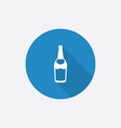 Beer bottle flat blue simple icon with long shadow vector