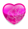 Shiny pink heart with decor vector