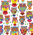 Cartoon owl pattern white background vector