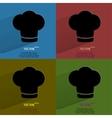 Color set chef cap cooking flat modern web button vector
