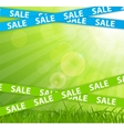 Spring sale concept with nature and ribbons vector