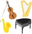 Cartoon music instruments set vector