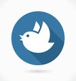 Blue flying bird icon vector