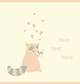 Card with a cute raccoon in love vector