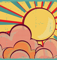 Louds and sunretro nature sky on old paper texture vector