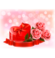 Valentines day background three red roses with red vector