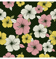 Pattern of hibiscus on green background vector