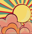 Louds and sunretro nature sky vector