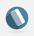 Comb barbershop circle blue icon with shadow vector