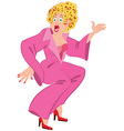 Cartoon woman in ink robe and red shoes with open vector
