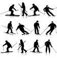 Mountain skier man speeding down slope sport vector