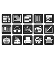 Silhouette library and books icons vector