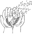 Hands full of flying hearts vector