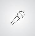 Microphone outline symbol dark on white background vector