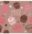 Sweet cupcakes pattern vector