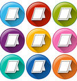 Round icons with picture frames vector