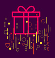 Gift box on abstract colorful geometric dark vector