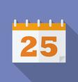 Icon of christmas day calendar 25 december flat vector