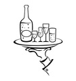 Waiter hand holds wine tray vector