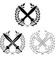 Set of crossed swords with laurel wreaths vector