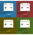 Color set car battery flat modern web button with vector