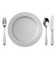Silver cutlery set with white plate isolated vector