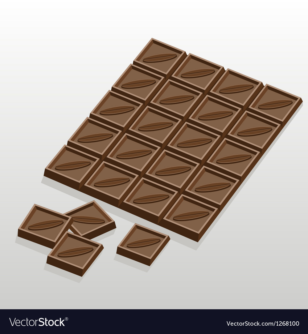 Chocolate bar and slices of chocolate vector   Price: 1 Credit (USD $1)