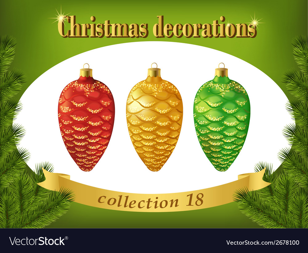 Christmas decorations collection of red gold and vector | Price: 1 Credit (USD $1)