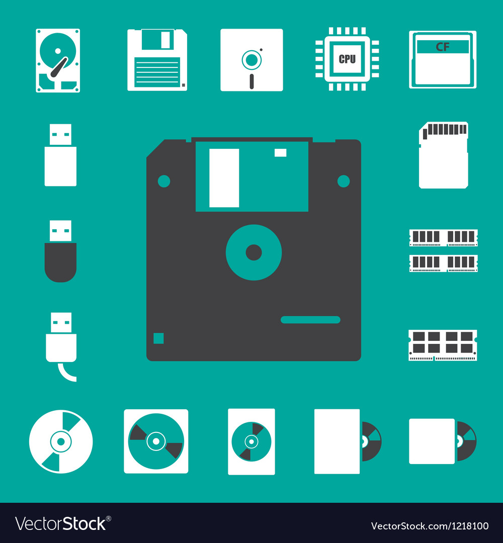 Computer and storage icons set eps 10 vector | Price: 1 Credit (USD $1)