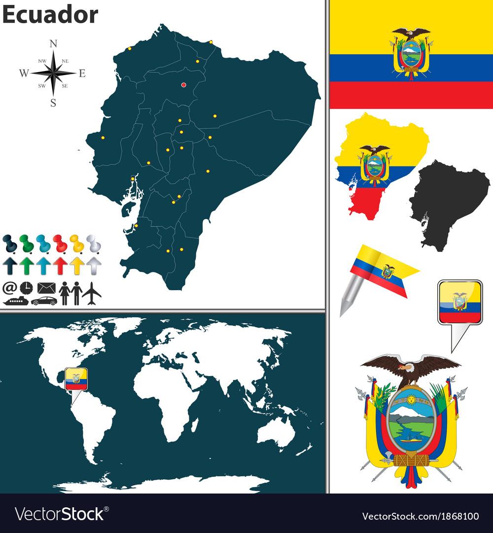 Ecuador map world vector | Price: 1 Credit (USD $1)