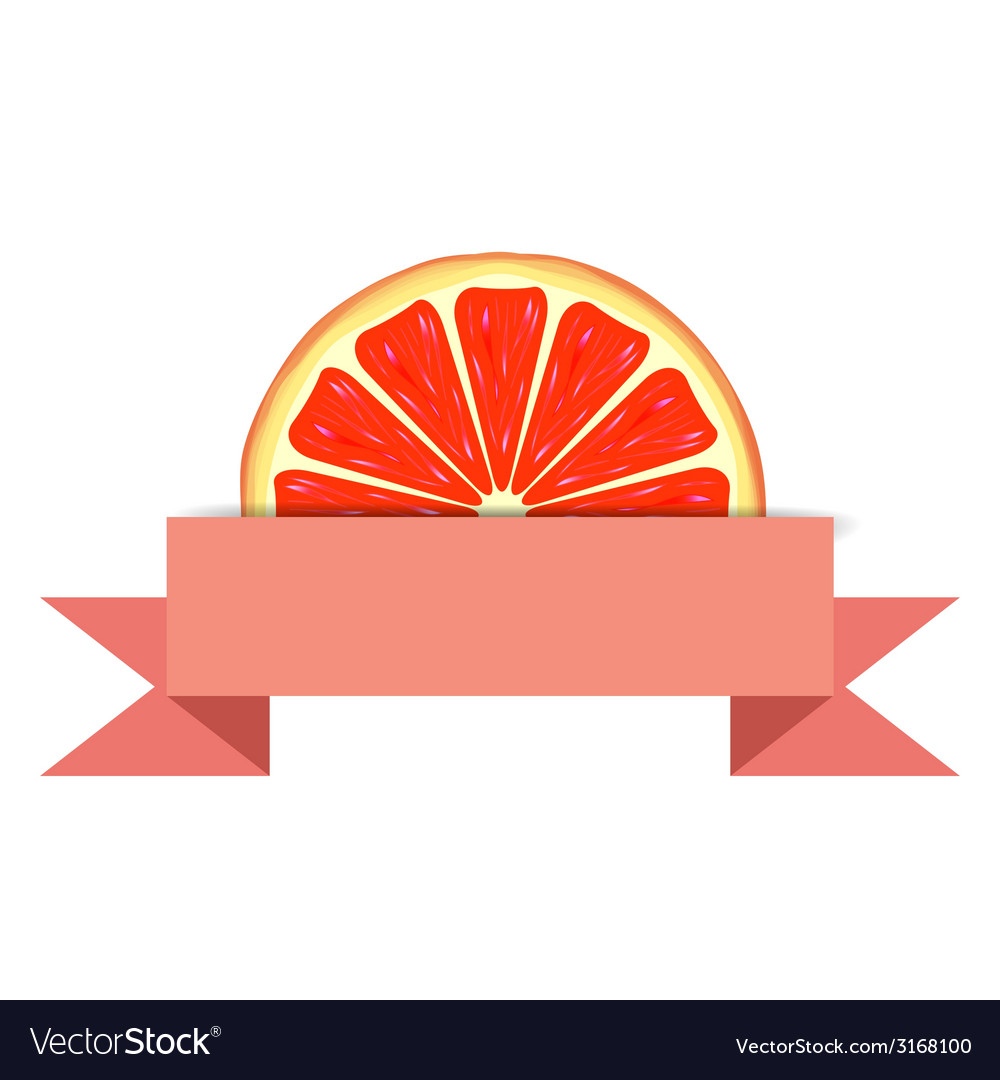 Grapefruit slice with paper banner vector | Price: 1 Credit (USD $1)