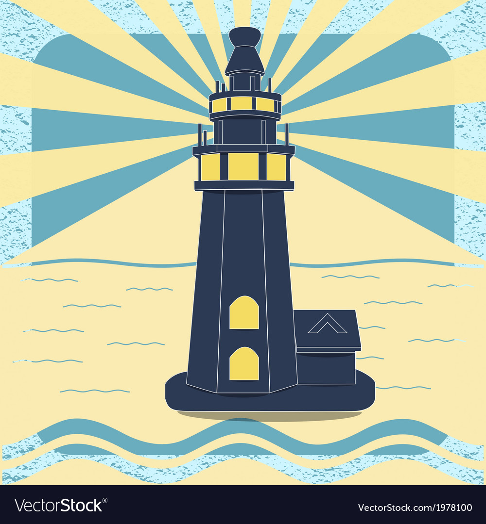 Poster with the lighthouse in vintage style vector | Price: 1 Credit (USD $1)