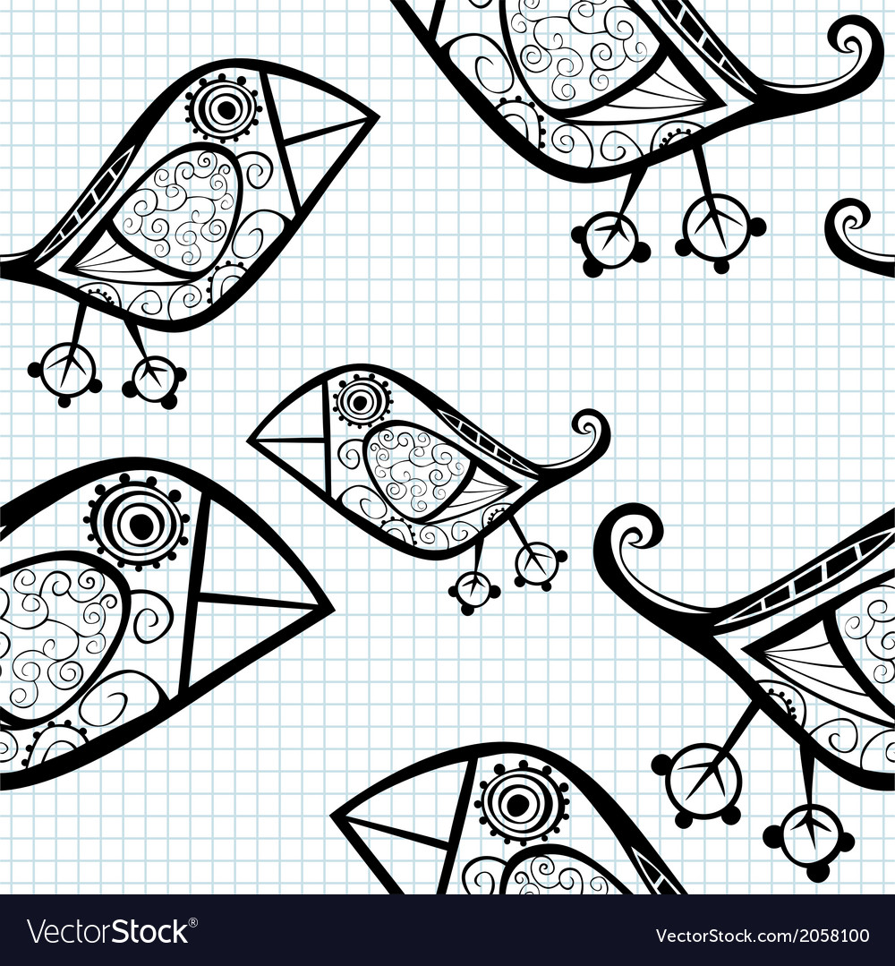 Seamless pattern with cartoon birds vector | Price: 1 Credit (USD $1)