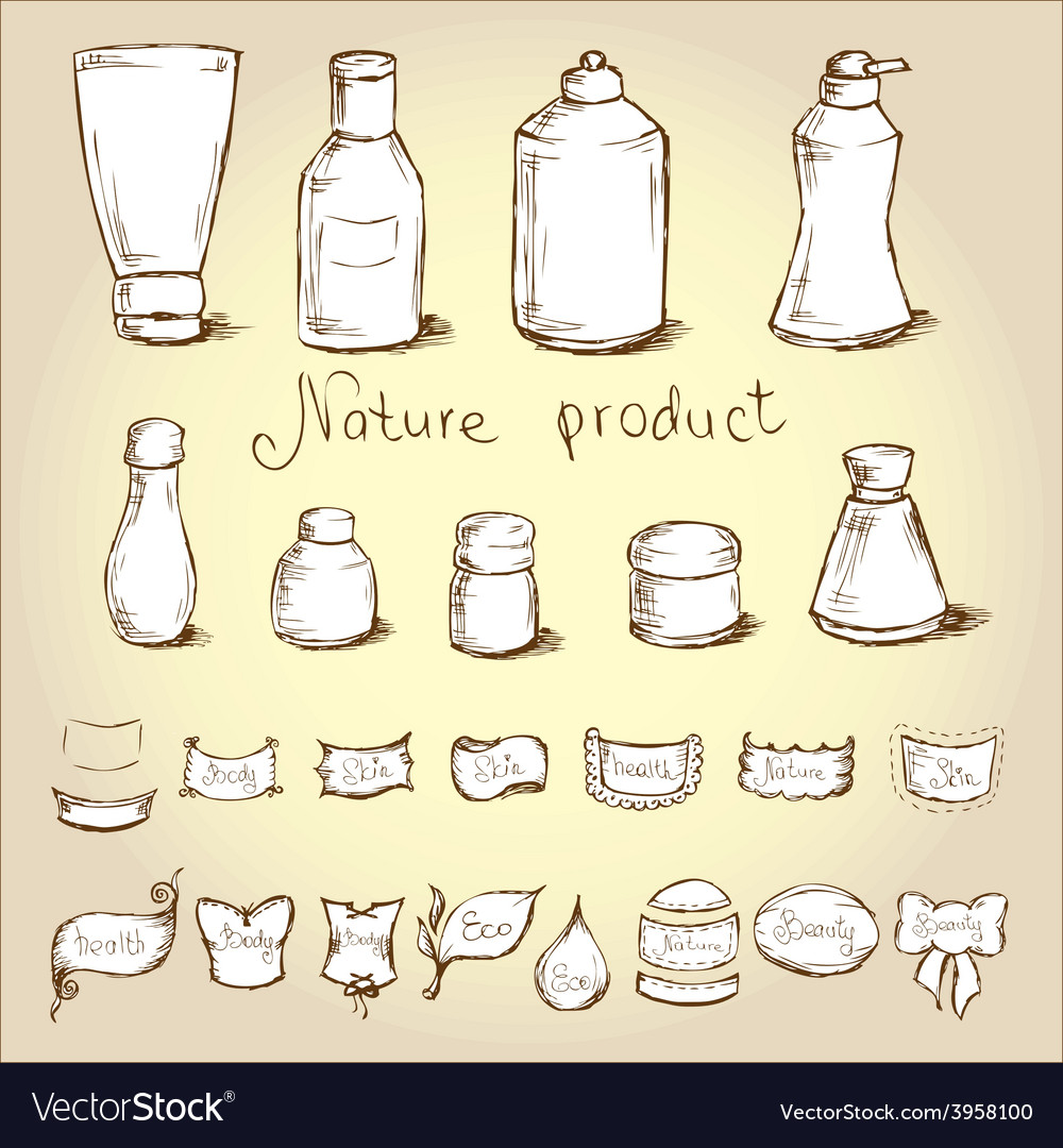 Set bottles tubes and them label vector | Price: 1 Credit (USD $1)