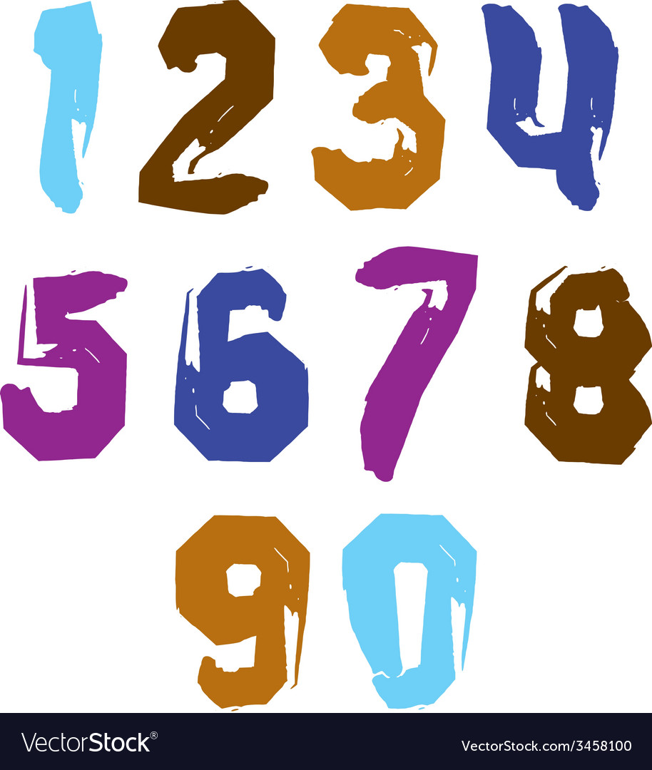 Stroked bright numbers set drawn with real ink vector | Price: 1 Credit (USD $1)