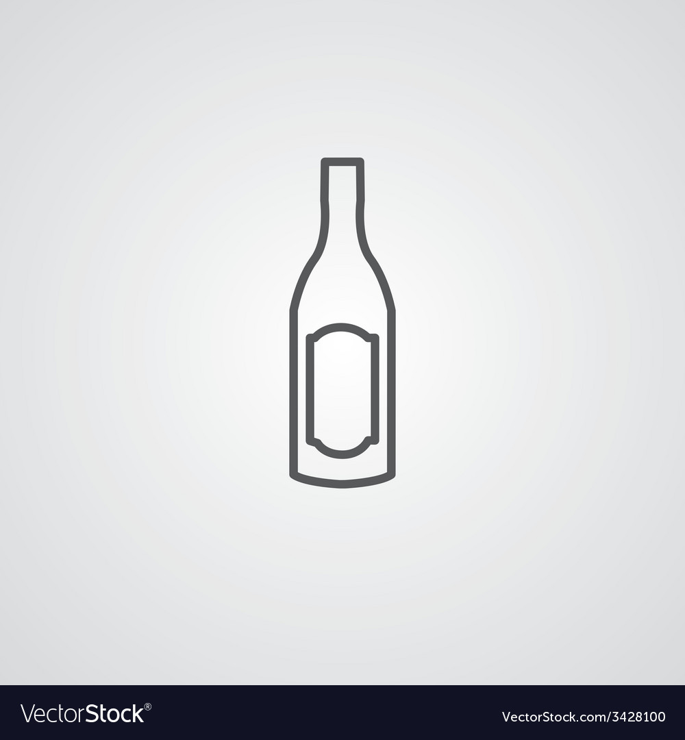 Wine bottle outline symbol dark on white vector | Price: 1 Credit (USD $1)