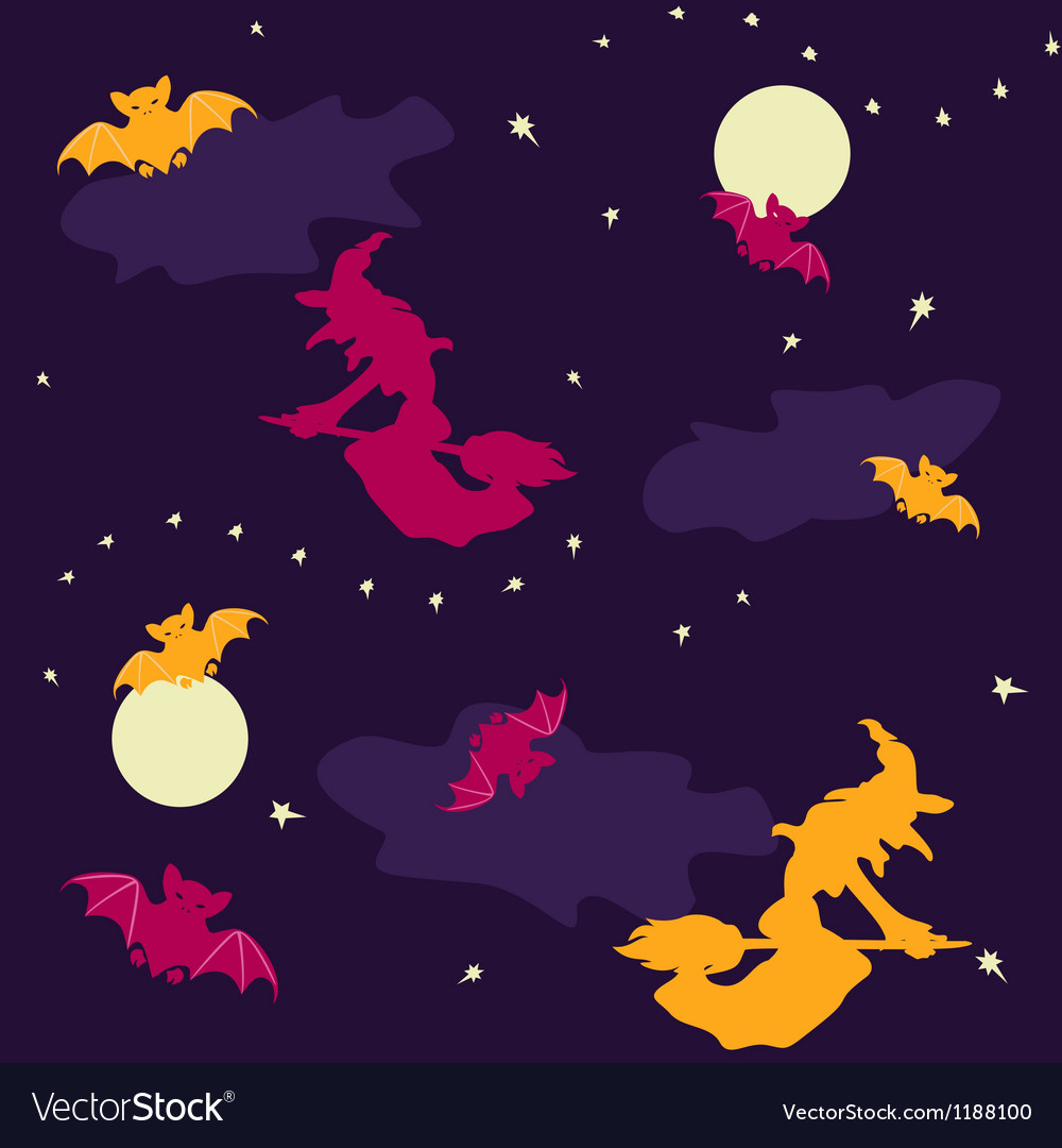 Witches and bats halloween seamless background vector | Price: 1 Credit (USD $1)
