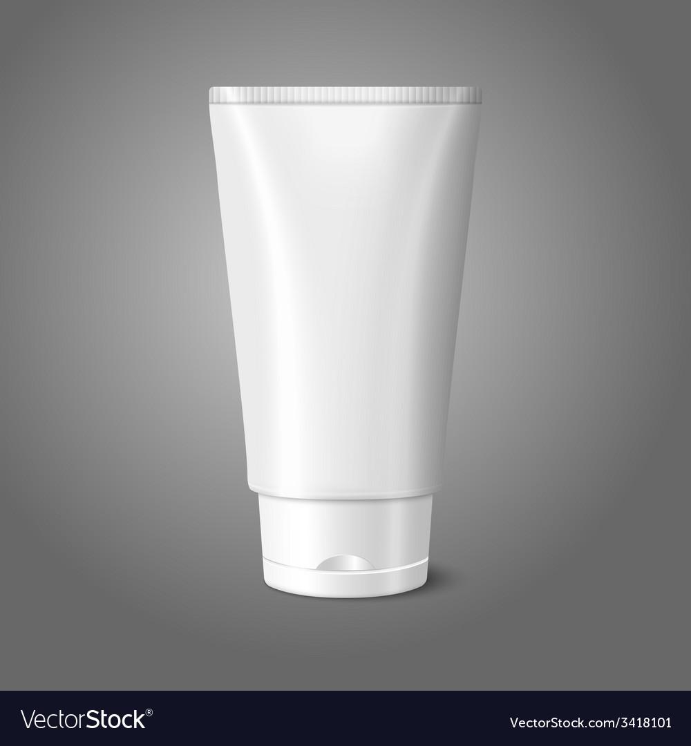 Blank white realistic tube for cosmetics cream vector | Price: 1 Credit (USD $1)
