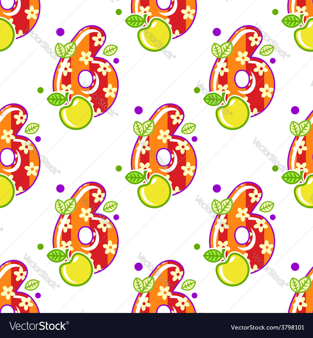 Cartoon number six seamless pattern vector | Price: 1 Credit (USD $1)