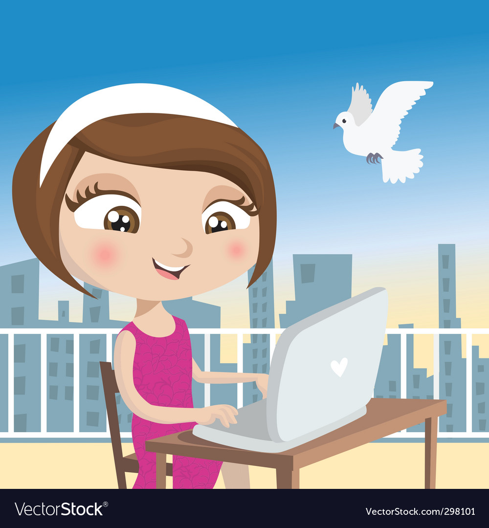 Girl with laptop vector   Price: 3 Credit (USD $3)