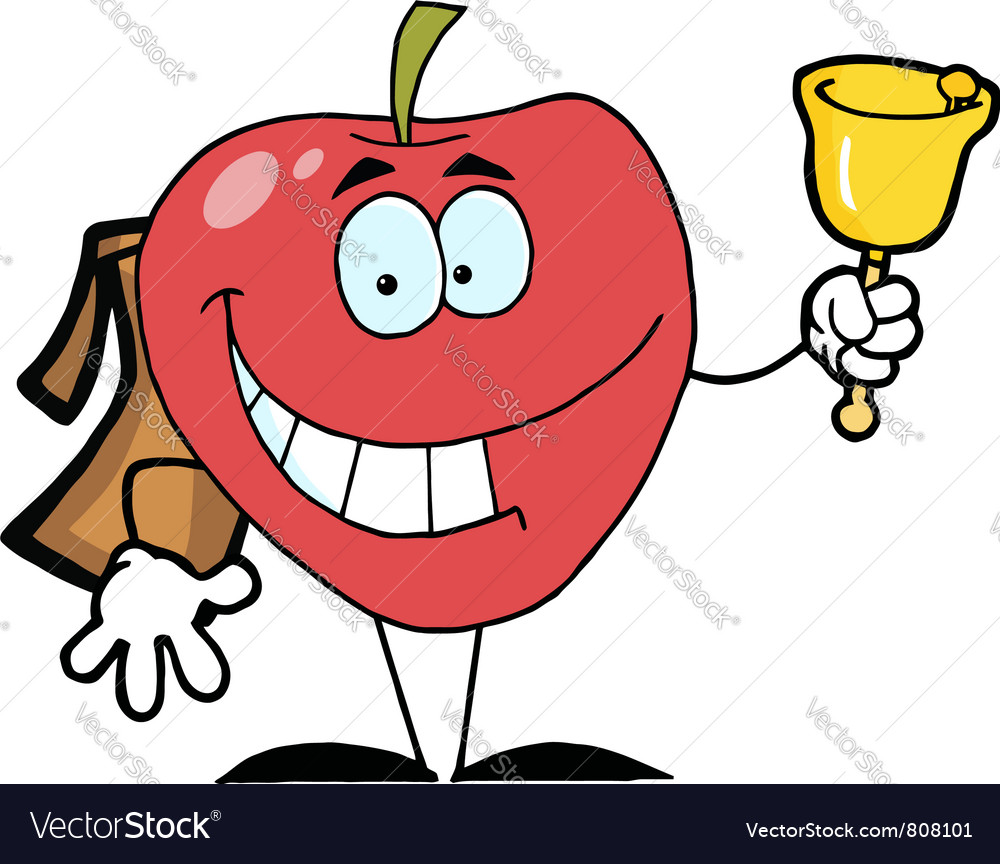 Happy red school apple ringing a bell vector | Price: 1 Credit (USD $1)