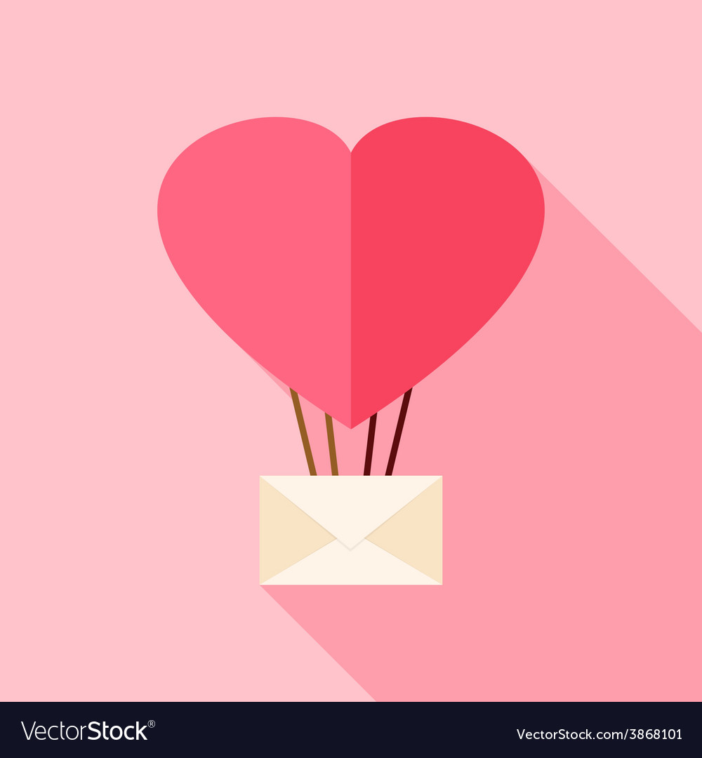 Heart shaped air balloon with envelope vector | Price: 1 Credit (USD $1)