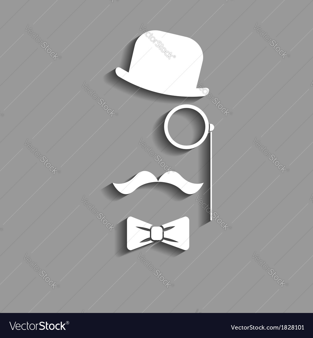 Hipster in bowler hat paper silhouette vector | Price: 1 Credit (USD $1)