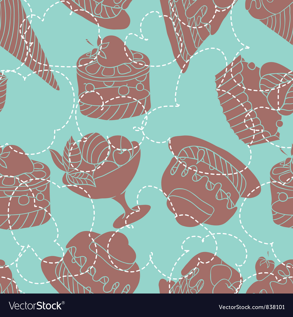 Holiday seamless pattern from sweet cakes and vector | Price: 1 Credit (USD $1)
