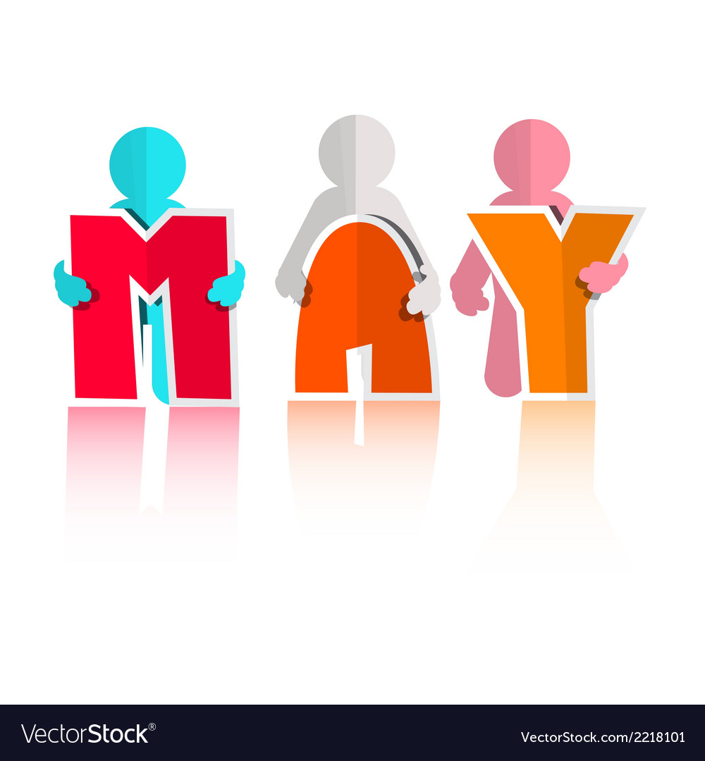 May colorful paper cut title and men vector   Price: 1 Credit (USD $1)