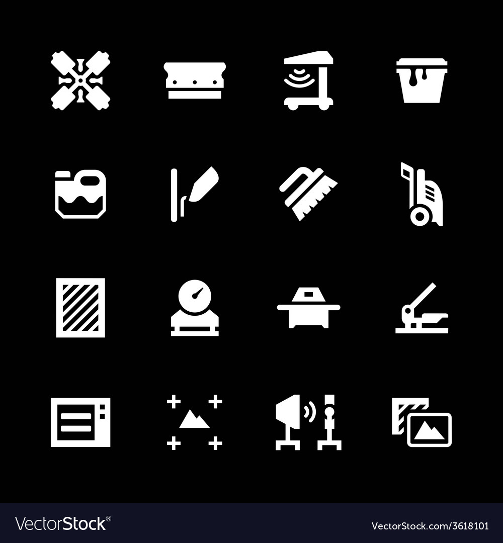 Set icons of screen printing vector | Price: 1 Credit (USD $1)