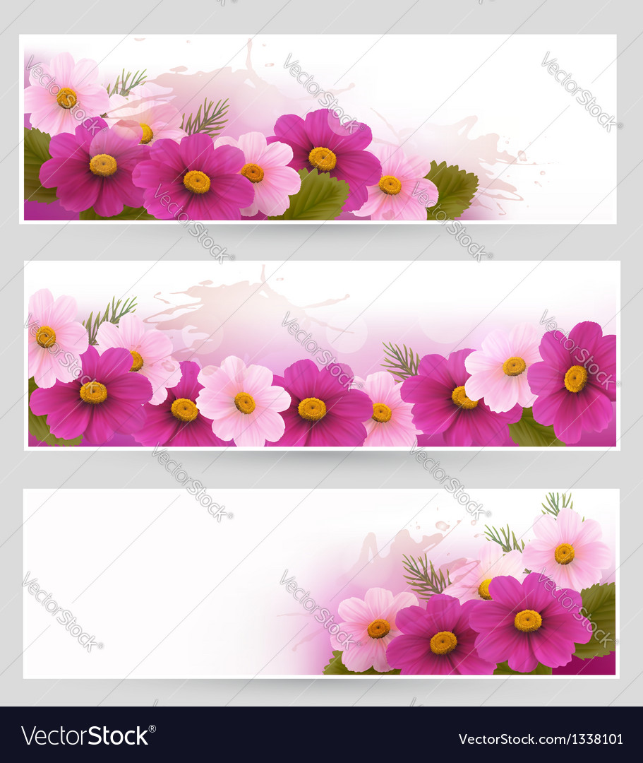 Set of holiday banners with colorful flowers vector | Price: 1 Credit (USD $1)