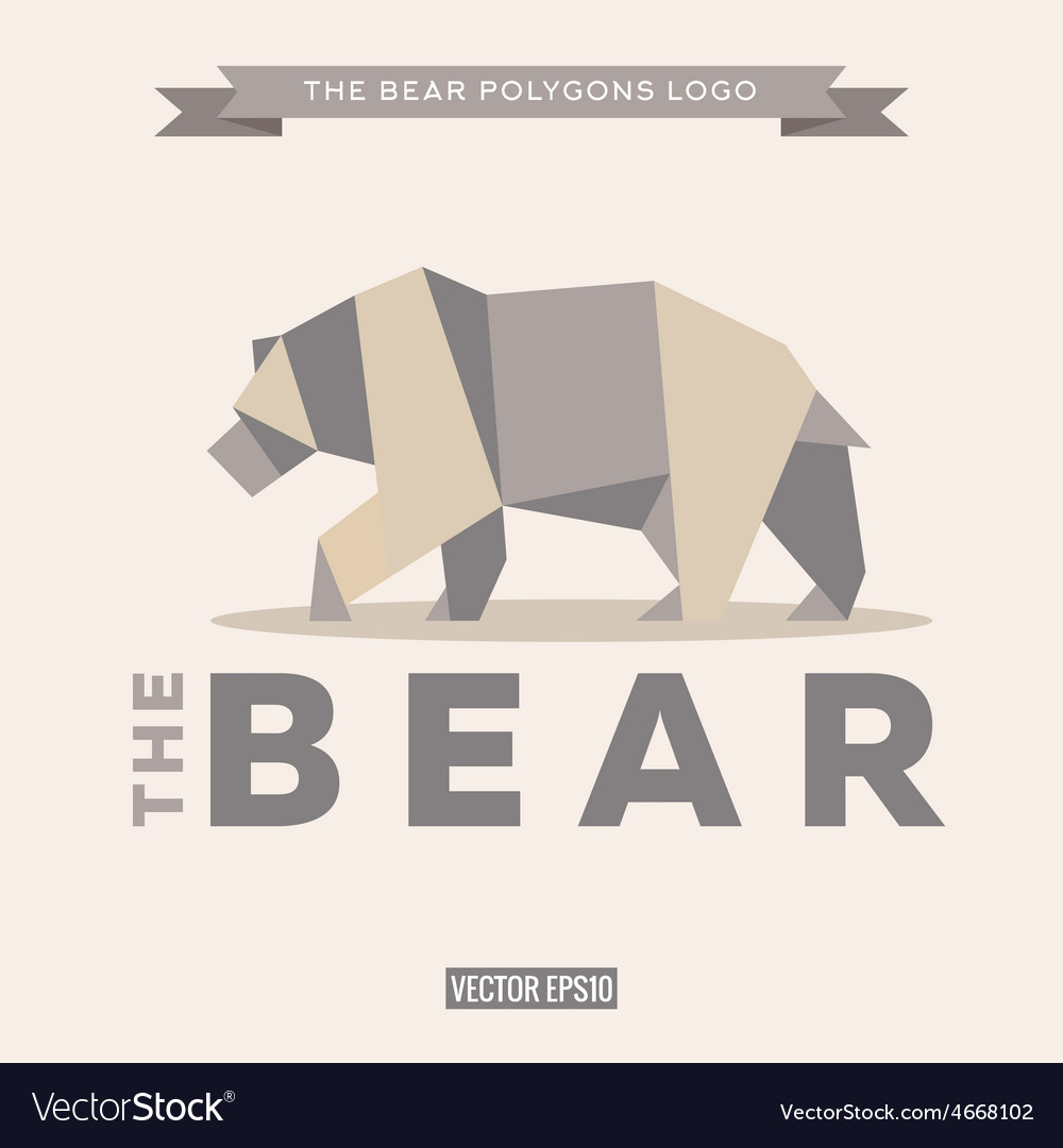 Bear logo origami with effects polygon and flat vector | Price: 1 Credit (USD $1)
