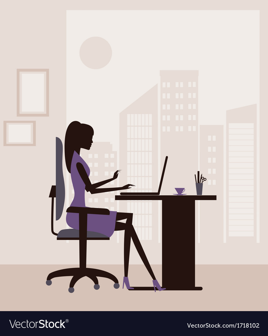 Business woman working vector | Price: 1 Credit (USD $1)